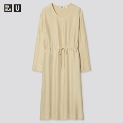 UNIQLO Women's U Shiny Rayon Long-Sleeve Dress, Beige, M found on Bargain Bro India from Uniqlo US for $9.90