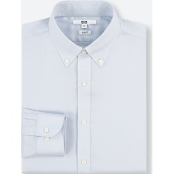 UNIQLO Men's Easy Care Stretch Slim-Fit Long-Sleeve Shirt (Xl), Blue, 18 in. found on Bargain Bro India from Uniqlo US for $9.90