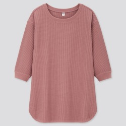 UNIQLO Women's Waffle Crew Neck 3/4 Sleeve T-Shirt, Pink, XL found on Bargain Bro Philippines from Uniqlo US for $19.90