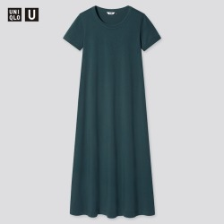 UNIQLO Women's U Airism Cotton A-Line Short-Sleeve Long Dress, Green, XXS found on Bargain Bro India from Uniqlo US for $19.90