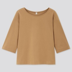UNIQLO Women's Mercerized Cotton Wide 3/4-Sleeve T-Shirt, Brown, XXS found on Bargain Bro India from Uniqlo US for $14.90