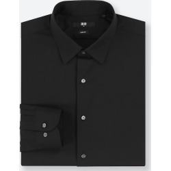 UNIQLO Men's Easy Care Stretch Slim-Fit Long-Sleeve Shirt, Black, M found on Bargain Bro India from Uniqlo US for $14.90