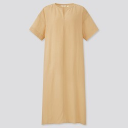 UNIQLO Women's Linen-Blend Short-Sleeve Kaftan Dress, Yellow, S found on Bargain Bro India from Uniqlo US for $29.90