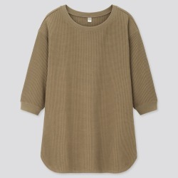UNIQLO Women's Waffle Crew Neck 3/4 Sleeve T-Shirt, Olive, XXS found on Bargain Bro India from Uniqlo US for $19.90