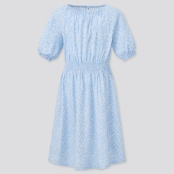 UNIQLO Girl's Flower Printed Short-Sleeve Dress, Blue, 9-10Y found on Bargain Bro India from Uniqlo US for $29.90