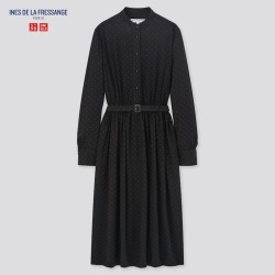 UNIQLO Women's Printed Rayon Belted Long-Sleeve Dress (Ines De La Fressange), Black, XXS found on Bargain Bro Philippines from Uniqlo US for $39.90