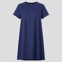 UNIQLO Women's Mercerized Cotton Short-Sleeve Mini Dress, Navy, L found on Bargain Bro India from Uniqlo US for $19.90