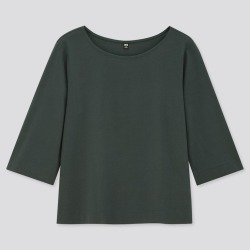 UNIQLO Women's Mercerized Cotton Wide 3/4-Sleeve T-Shirt, Green, S found on Bargain Bro India from Uniqlo US for $14.90
