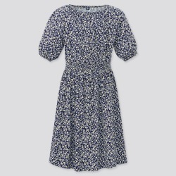 UNIQLO Girl's Flower Printed Short-Sleeve Dress, Navy, 3-4Y found on Bargain Bro India from Uniqlo US for $29.90