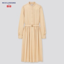 UNIQLO Women's Printed Rayon Belted Long-Sleeve Dress (Ines De La Fressange), Beige, XXS found on Bargain Bro Philippines from Uniqlo US for $39.90