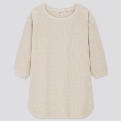 UNIQLO Women's Waffle Crew Neck 3/4 Sleeve T-Shirt, Beige, S found on Bargain Bro India from Uniqlo US for $19.90