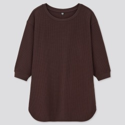 UNIQLO Women's Waffle Crew Neck 3/4 Sleeve T-Shirt, Brown, XXS found on Bargain Bro India from Uniqlo US for $19.90