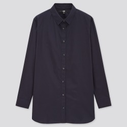 UNIQLO Women's Extra Fine Cotton Long-Sleeve Shirt, Navy, S found on Bargain Bro India from Uniqlo US for $29.90