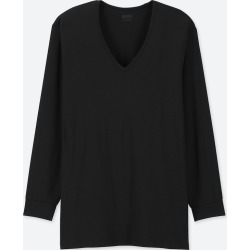 UNIQLO Men's HEATTECH V-Neck Long-Sleeve T-Shirt, Black, XS found on Bargain Bro India from Uniqlo US for $9.90