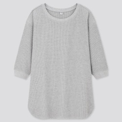 UNIQLO Women's Waffle Crew Neck 3/4 Sleeve T-Shirt, Gray, M found on Bargain Bro India from Uniqlo US for $19.90