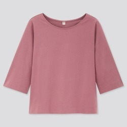 UNIQLO Women's Mercerized Cotton Wide 3/4-Sleeve T-Shirt, Purple, L found on Bargain Bro India from Uniqlo US for $14.90