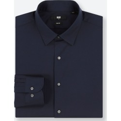 UNIQLO Men's Easy Care Stretch Slim-Fit Long-Sleeve Shirt, Navy, S found on Bargain Bro India from Uniqlo US for $14.90