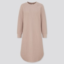 UNIQLO Women's Waffle Crew Neck Long Sleeve Dress, Pink, XXS found on Bargain Bro India from Uniqlo US for $9.90