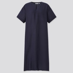 UNIQLO Women's Linen-Blend Short-Sleeve Kaftan Dress, Navy, XXS found on Bargain Bro India from Uniqlo US for $29.90