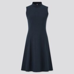 UNIQLO Women's Mock Neck Sleeveless Flare Dress, Black, XXS found on Bargain Bro India from Uniqlo US for $14.90