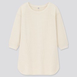 UNIQLO Women's Waffle Crew Neck 3/4 Sleeve T-Shirt, Off White, M found on Bargain Bro India from Uniqlo US for $19.90