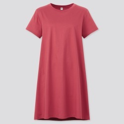 UNIQLO Women's Mercerized Cotton Short-Sleeve Mini Dress, Red, S found on Bargain Bro India from Uniqlo US for $19.90