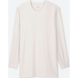 UNIQLO Men's HEATTECH Crew Neck Long-Sleeve T-Shirt, White, XS found on Bargain Bro India from Uniqlo US for $9.90