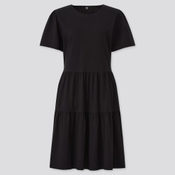 UNIQLO Women's Smooth Cotton Short-Sleeve Dress, Black, S found on Bargain Bro India from Uniqlo US for $19.90