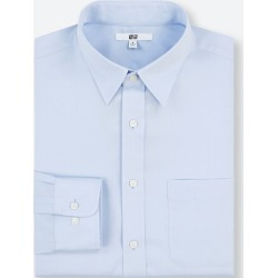 UNIQLO Men's Easy Care Regular-Fit Long-Sleeve Shirt (M), Blue, 16.5 in. found on Bargain Bro India from Uniqlo US for $9.90
