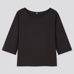 UNIQLO Women's Mercerized Cotton Wide 3/4-Sleeve T-Shirt, Black, S found on Bargain Bro India from Uniqlo US for $14.90