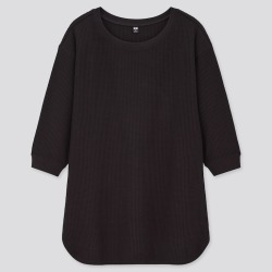 UNIQLO Women's Waffle Crew Neck 3/4 Sleeve T-Shirt, Black, S found on Bargain Bro India from Uniqlo US for $19.90