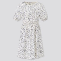 UNIQLO Girl's Flower Printed Short-Sleeve Dress, Off White, 5-6Y found on Bargain Bro India from Uniqlo US for $29.90