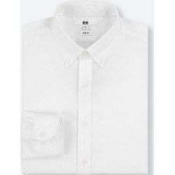 UNIQLO Men's Easy Care Stretch Slim-Fit Long-Sleeve Shirt (L), White, 17 in. found on Bargain Bro India from Uniqlo US for $9.90