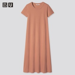 UNIQLO Women's U Airism Cotton A-Line Short-Sleeve Long Dress, Orange, M found on Bargain Bro India from Uniqlo US for $19.90