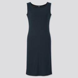 UNIQLO Women's Ribbed Square Neck Sleeveless Dress, Black, XXS found on Bargain Bro India from Uniqlo US for $14.90