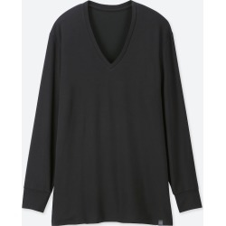 UNIQLO Men's HEATTECH Extra Warm V-Neck Long-Sleeve T-Shirt, Black, XXL found on Bargain Bro Philippines from Uniqlo US for $14.90