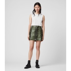 AllSaints Womens Lena Oba Leather Skirt, Green, Size: 4 found on Bargain Bro UK from All Saints UK
