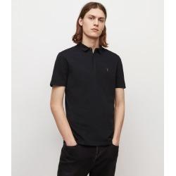 AllSaints Men's Cotton Regular Fit Slim Brace Short Sleeve Polo Shirt, Black, Size: XL found on Bargain Bro UK from All Saints UK