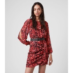 AllSaints Barre Ambient Kleid, Womens, Red, Size: Size 8