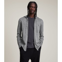 AllSaints Men's Merino Wool Lightweight Mode Zip Hoodie, Grey, Size: M found on Bargain Bro UK from All Saints UK
