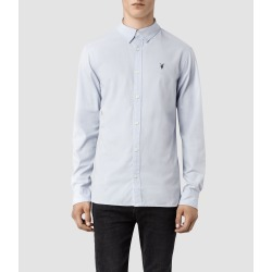 AllSaints Mens Redondo Ls Shirt, Light Blue, Size: S found on Bargain Bro UK from All Saints UK