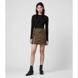 AllSaints Women's Leather Slim Fit Carson Skirt, Green, Size: 12 found on Bargain Bro UK from All Saints UK
