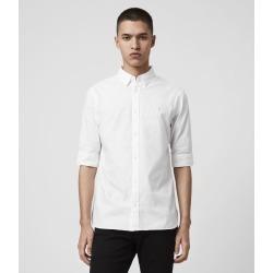 AllSaints Men's Cotton Slim Fit Redondo Half-Sleeve Shirt, White, Size: XS found on Bargain Bro UK from All Saints UK