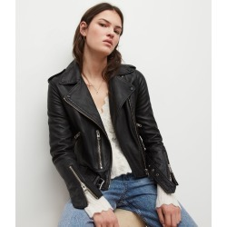 AllSaints Leather Regular Fit Sheep Balfern Biker Jacket, Black, Womens, Size: 10 found on Bargain Bro UK from All Saints UK