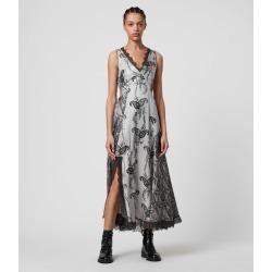AllSaints Nysa Kashmir Silk Blend Dress, Grey, Size: 6 found on Bargain Bro UK from All Saints UK