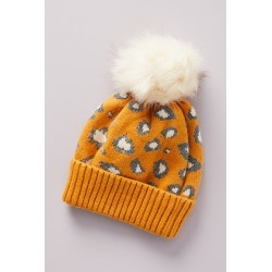 Pick-A-Pom Leopard-Spotted Beanie Base By Anthropologie in Yellow found on Bargain Bro India from Anthropologie for $34.00