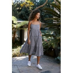 Gingham Tiered Cover-Up Midi Dress By Seafolly in Black Size L found on Bargain Bro India from Anthropologie for $148.00