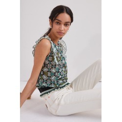 Anna Sui Floral Silk Blouse By Anna Sui in Green Size L found on MODAPINS from Anthropologie for USD $660.00