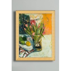 Still Life with Flowers, Lemon and Limes - Gold