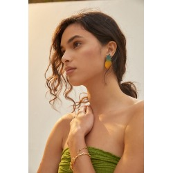 We Dream In Colour Pineapple Post Earrings By We Dream in Colour in Assorted found on Bargain Bro from Anthropologie for USD $53.20